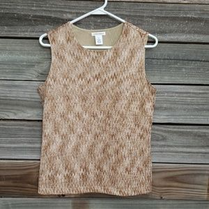 Laura Ashley Gold Sleeveless Top Tank Blouse Small